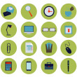 Modern flat office icons vector collection, business elements, office equipment and marketing items. — Stock Vector #67398271