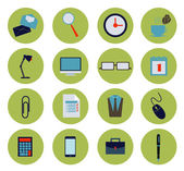 Modern flat office icons vector collection, business elements, office equipment and marketing items. — Stock Vector