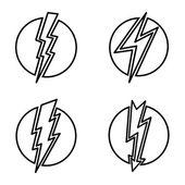 Vector  contour, line illustration of lightning. — Stock Vector