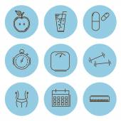Fitness and health, slimming set of icons. Vector illustration — Stock Vector