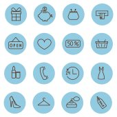 Set of shopping line vector icons — Stock Vector