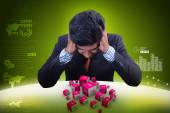 Business man with dot com domain in cubes — Stock Photo