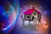 People holding a house — Foto de Stock