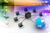 Laptops with big server — Foto de Stock