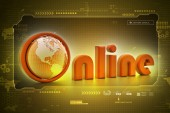 On-line word with globe. — Stock Photo