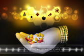 Doctor holding pills in hand — Stock Photo
