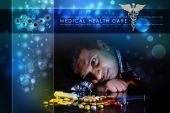 Doctor rest with heap of pills — Stock Photo