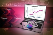 Laptop showing a financial report — Stock Photo