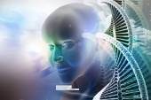 Eye looking ahead against dna structures — Stock Photo