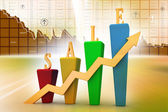 Bar chart and sales growth — Stock Photo