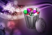 Capsules in a trash bin — Stok fotoğraf