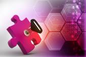 Puzzle and key — Stock Photo