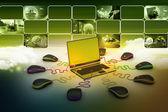 Globe verbinding maken met computer muizen — Stockfoto