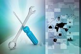 Screwdriver and wrench tools — Stock Photo