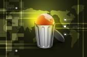 Globe in trash bin — Stock Photo