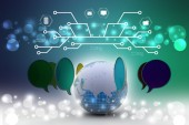 Talking bubbles connected with globe — Stock Photo