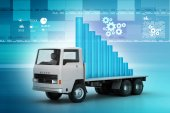Business graph in truck — Foto Stock