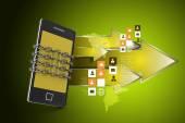Smartphone with chain — Stockfoto