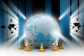 Globe and traffic cones — Stock Photo