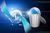 Globe in trash bin — Stockfoto