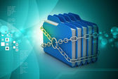 Folders locked by chains — Stockfoto