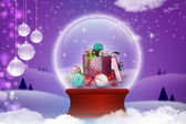 Gift boxes with christmas bubbles — Stock Photo