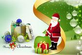 Christmas gift boxes with santa claus — Stockfoto