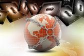 Earth globe sluiten in keten — Stockfoto