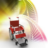 Wheel chair with twisted chrome DNA — Stock Photo
