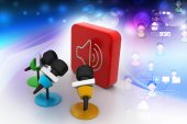 Microphones with sound symbol — Stock Photo
