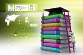 Graduation mortar on top of books — Stock Photo