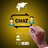 Communication concept with Chat icon — Stock Photo