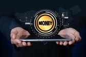Peníze se znaménkem na digitálním tabletu — Stock fotografie