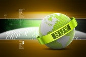 The globe with buy word — Stock Photo