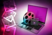 Laptop with reel concept — Stock Photo