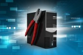 Computer repair service concept — Stock Photo