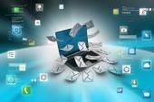 Modern Laptop and envelopes — Stock Photo
