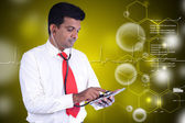 Man with stethoscope and tablet pc — Stock Photo