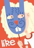 Girl in rabbit mask poster — Stock Vector