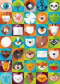 Set of icons of animals and objects — Vecteur