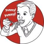 Boy eating pasta yummy retro portrait of a circle — Stock Vector #63813173
