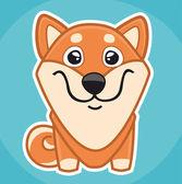 Dog Shiba sticker icon — Stock Vector