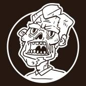 Portrait of an angry zombie circle sticker — Stock Vector