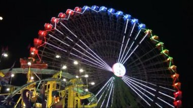 Christmas fair park at night — Stock Video