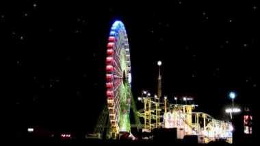 Amusement park at night — Vidéo