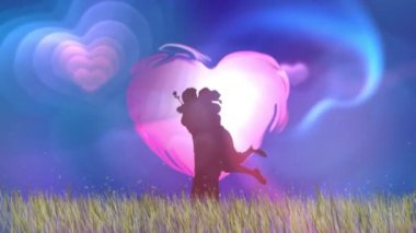 HD intro with hearts — Stok video