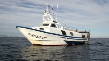 Fishing boats stopped in open waters — Vídeo de stock