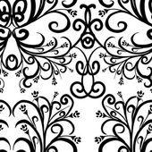 Black and white floral seamless pattern Vector — Stock Vector
