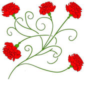 Beautiful red carnation isolated Vector 2 — ストックベクタ