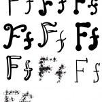 Set of ten different letters F, Vector — Stock Vector #73605175